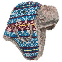 Mad Bomber Knit Snowflake Aviator Hat Faux-fur Lining Insulated Cap Large