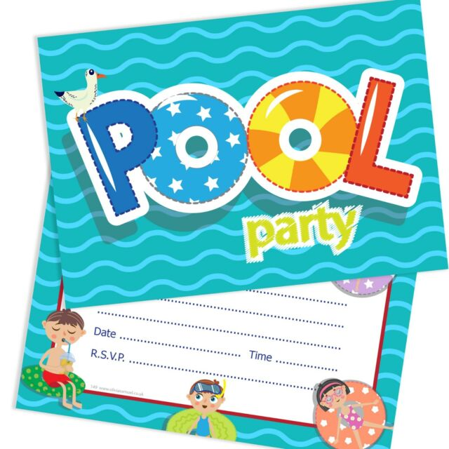 Olivia Samuel Swimming Pool Party Invitations Ready To Write With Envelopes Pac