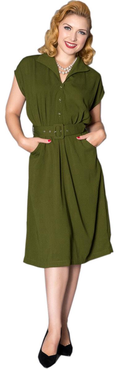 Sheen Beryl VINTAGE 40s A MANICHE CORTE RETRO NOSTALGIC NOSTALGIC NOSTALGIC V-Neck Dress Abito Rockabilly 1a28b2
