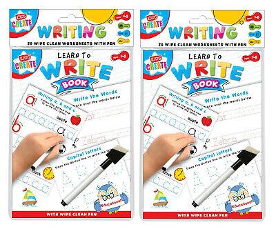 2 X Bambini Bimbi Orologio A5 Pulisci Fogli Di Lavoro Con Gomma Penna Scuola Insegnare Imparare N-mostra Il Titolo Originale Ultima Tecnologia