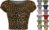 New Womens Print Pattern Short Cap Sleeve Ladies Crop Stretch T-Shirt Top 8-14