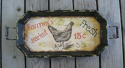 Large Wood Chicken Rooster Serving Tray*Primitive/French Country Farmhouse Decor