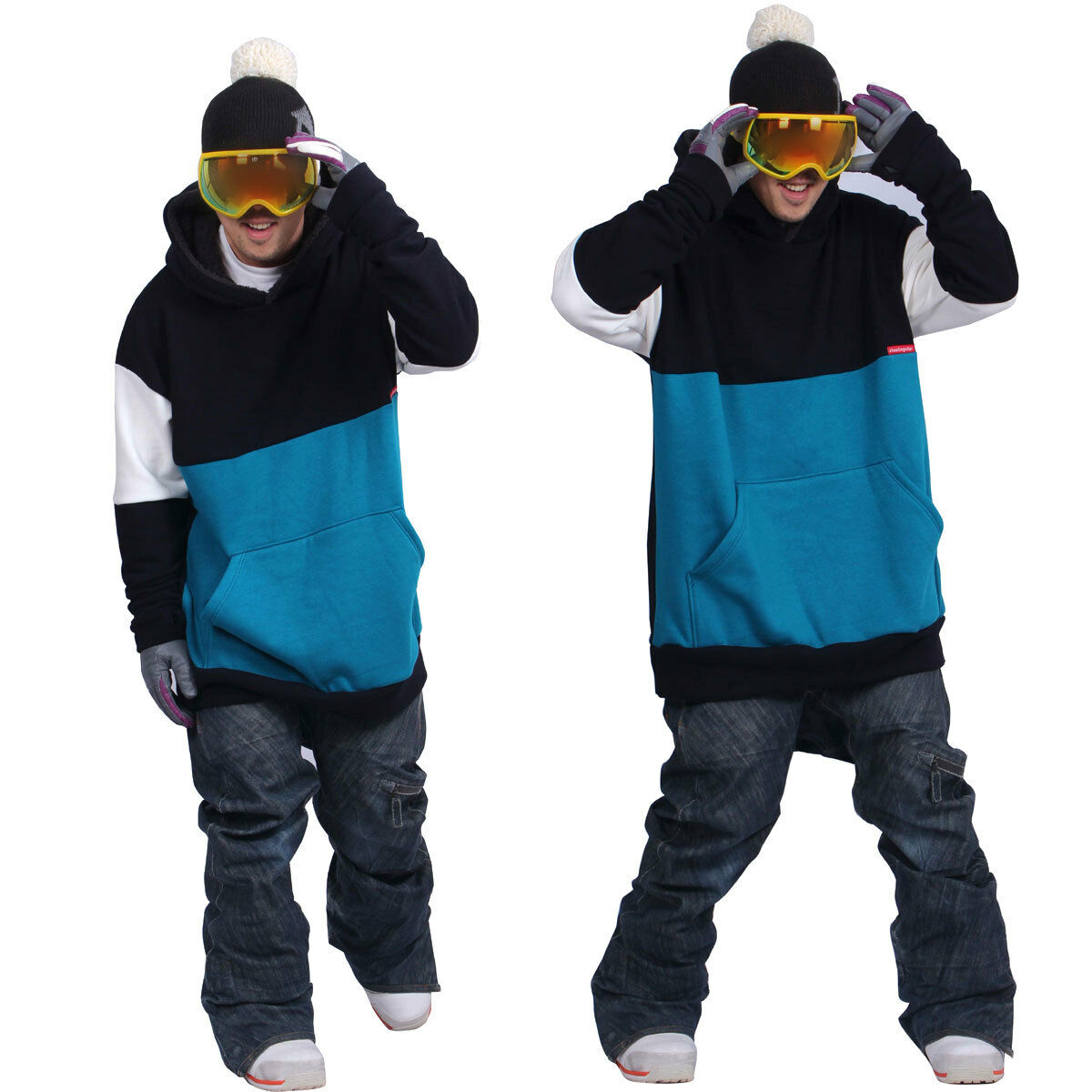 17-18 December long tall hoodie ski snowboard-MIX sea