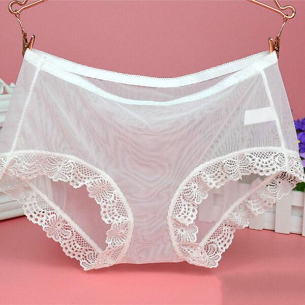 2-teilig Damen Durchsichtig Netz Spitzenslips Slip Übergröße sexy Unterhosen