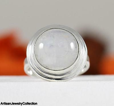 RAINBOW MOONSTONE & 925 Sterling Silver RING Size ~6  Y833A
