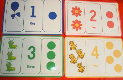 Grand Nombre//compter//Couleurs Flash Cards-Disponible en format A4-Pre-school