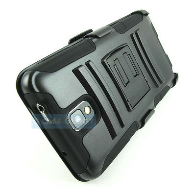 BLACK RUGGED HYBRID CASE COVER+CLIP HOLSTER FOR SAMSUNG GALAXY NOTE III 3