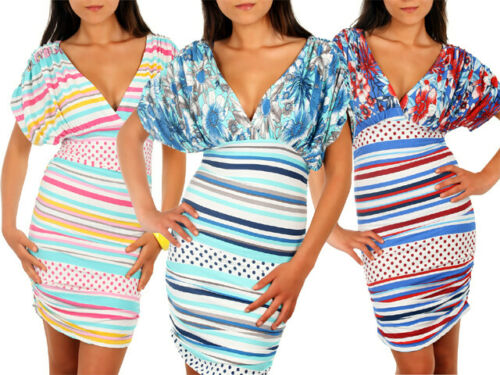 Ladies Summer Sailor Flower Dress Semi Fitted Style Striped Patterned Top 5918