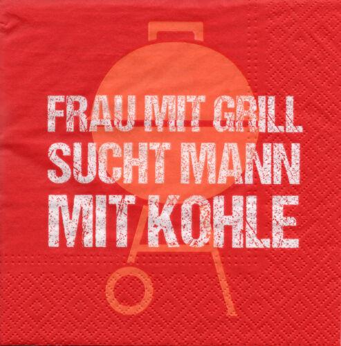 4 Servietten Motivservietten Serviettentechnik Spruch Frau mit Grill... 1415