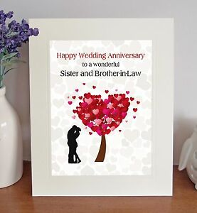 Sister Brother In Law Wedding Anniversary Gift Free Standing