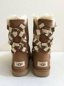 Image is loading UGG-CLASSIC-SHORT-BAILEY-BOW-STRIPE-CHESTNUT-WOMEN-