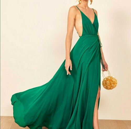 Reformation Callalily gown wrap dress green 8 wrap