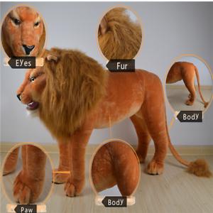 Big Simulation Ridable Lion Plush Soft Huge Lion Home Decorate Toy