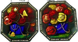 Bleiverglasung-2x-seltene-Antiquitaet-Glasmalerei-Atzung-034-Rosenbuquett-034-sign-WK