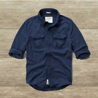 Abercrombie&fitch Men`s Shirt Blue Mountain Size Xl Navy Blue