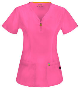 Scrubs Code Happy V-Neck 46600A SHCH Shocking Pink Antimicrobial Free Shipping