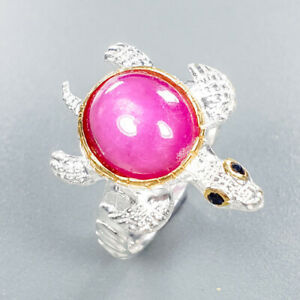Natural-Star-Ruby-Ring-Silver-925-Sterling-Unique-Jewelry-Size-8-R132340