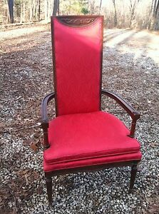 Antique Throne Accent Chair Santa Red Carved Wood High
