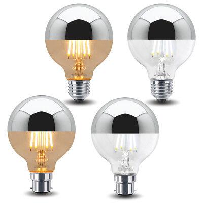 4W LED G80 CROWN SILVER Light Bulb Unique Mirror Top Style B22 or E27 Globe Bulb