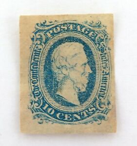 1863-USA-CONFEDERATE-STATES-IMPERF-10c-MH-VERY-THIN-STAMP