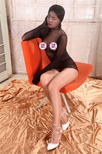 Unisex Sheer Total Encasement Nylon pantyhose long sleeve Dress top closed hood