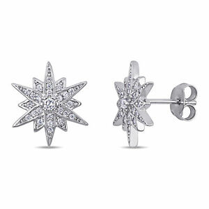 Amour Sterling Silver Cubic Zirconia Clustered Star Stud Earrings