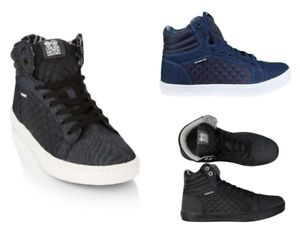 Crosshatch-Men-039-s-Tolfa-High-Top-Ankle-Trainers-Shoes-lace-up-Black-UK-new
