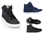 Crosshatch Men/'s Tolfa High Top Ankle Trainers Shoes lace up Black UK new