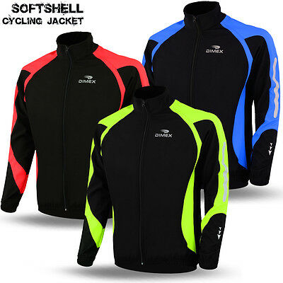 Cycling Soft Shell Jacket Long Sleeve Thermal Reflective Windproof Bike Coat
