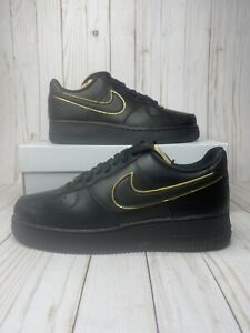 Nike Air Force 1 Low 07 Essential Black Gold Swoosh Womens Size 11
