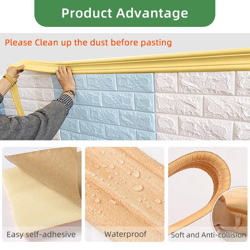 3D Waterproof PVC Tile Sticker DIY Self Adhesive Bathroom Wall Decal Tape #8Y