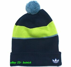 Image is loading ADIDAS-WOOLIE-COLOR-BLOCKING-BEANIE-Navy-Green-Knitted- ce32e9839c6