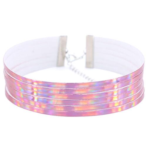 EE /_ eg /_ Chic Mujer Multirow 6 capas Holográfico amplia Gargantilla Collar De Club Fiesta