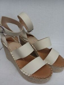 a19047930 Dolce Vita Women s White Stella Leather Wedge Sandals Size 9.5 ...