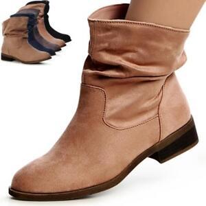 Damenschuhe-Velours-Stiefeletten-Ankle-Boots-Kurz-Stiefel-Halbstiefel-Trendy