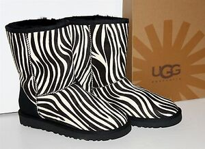 UGG-Women-039-s-Classic-Short-Exotic-ZEBRA-BOOTS-1002790-Haircalf-NEW-Sz-7-or-10