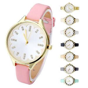 Damen-Strass-Watch-Armbanduhr-Kunstleder-Damenuhr-Quarz-Uhr-Analog-Quarzuhr