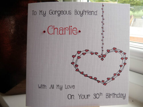 Handmade Personalised Birthday Card Boyfriend Girlfriend Husband