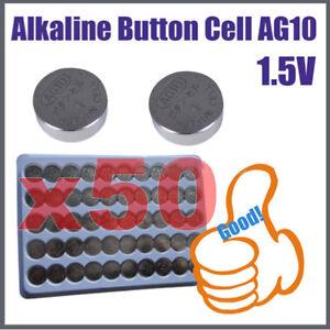 AG10-1-55V-LR54-LR1130-PILE-50x-BATTERIA-BOTTONE-PILA-PER-CALCOLATRICE-BASSO-xbx
