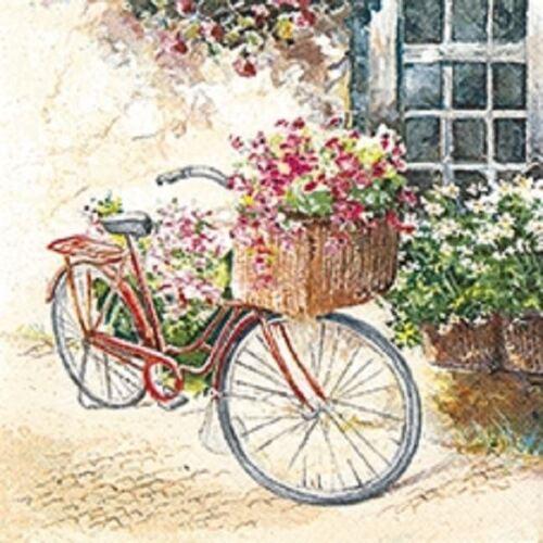 Ideal for Decoupage Flower Bike 4 x Paper Napkins Napkin Art