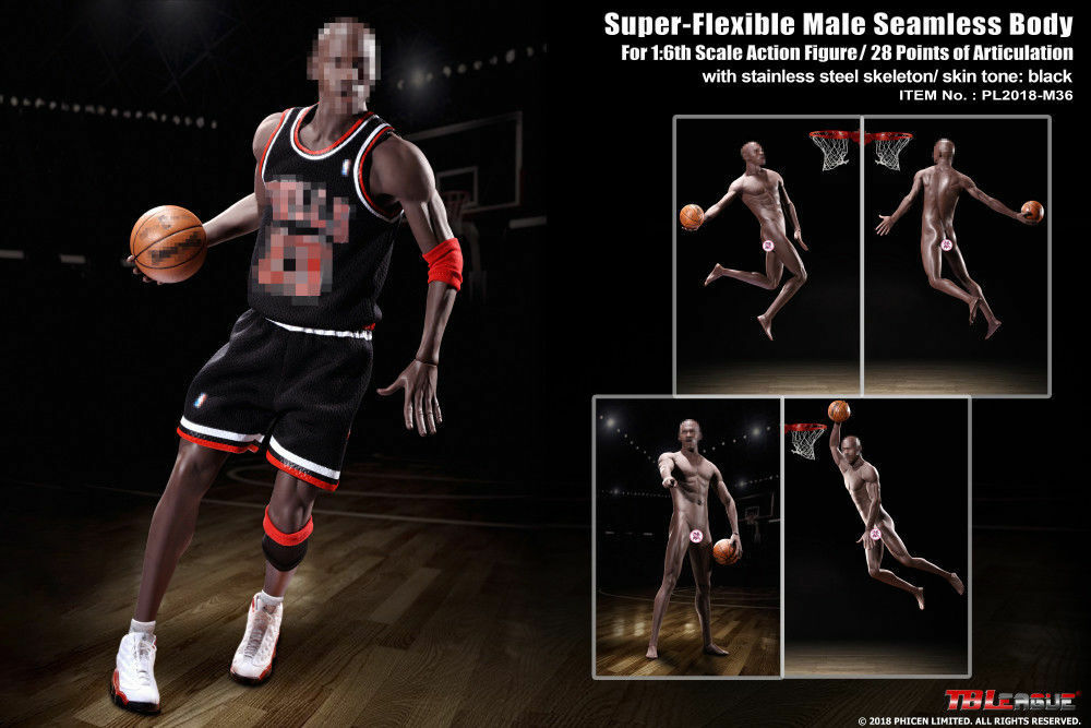 Tbleague 1 6 Negro Muscular Sin Costuras Baloncesto Estrella Figura Cuerpo PL2018-M36 Modelo
