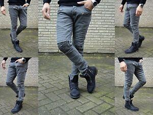 Wild fashion destroyed Zipper Herren UK Style Skinny Fit Men Röhre Jeans Hose