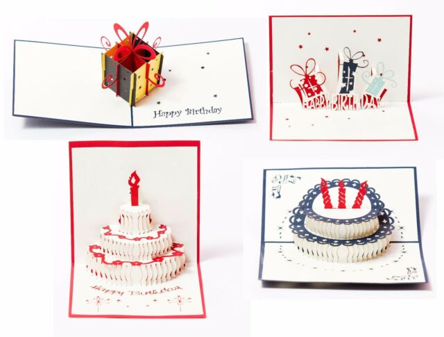 3D Pop Up Happy Birthday Gift Greeting Cards For Kids Set Of 4 Assortment