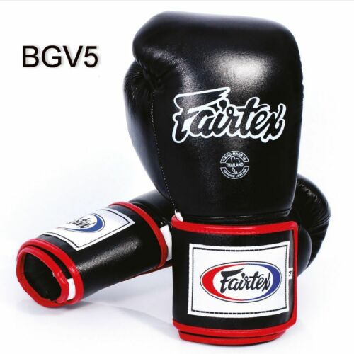 BLACK WHITE RED SUPER SPARRING LOCKED THUMB FAIRTEX BGV5 MUAY THAI BOXING GLOVES