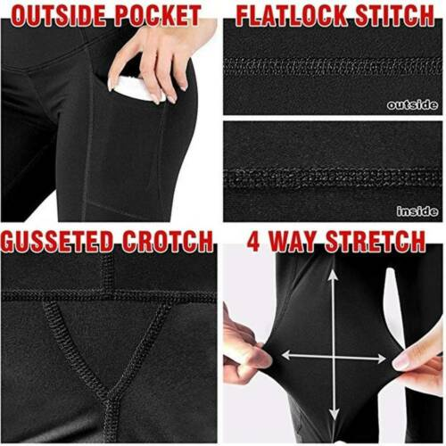 Women Pockets High Waist Push Up Yoga Pants Sports Gym Leggings Fitness Trousers