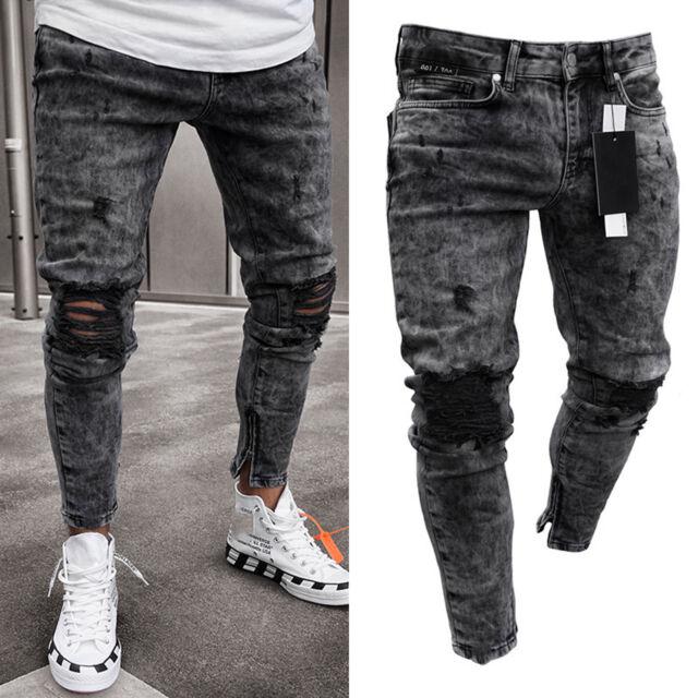 Men Skinny Ripped Jeans Casual Slim Fit Zipper Biker Jogger Denim Pants Trousers