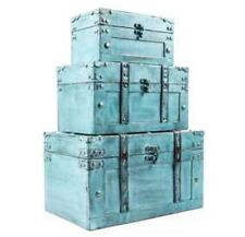 Rustic Antique Turquoise Storage Trunk Box Set of 3 Country Farmhouse Decor New