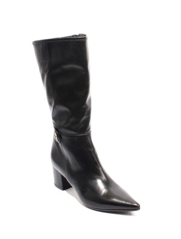 Isabelle 20 Cremallera Elástico Elástico Elástico Cuero Negro botas de tacón puntiagudo mitad de la pantorrilla 37 US 7  encuentra tu favorito aquí