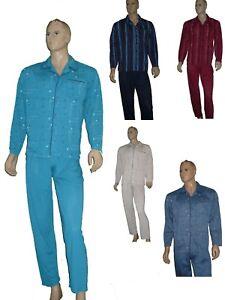 ae8a5c4947 Das Bild wird geladen Herren-Schlafanzug-lang-Pyjama -Single-Jersey-zum-knoepfen-