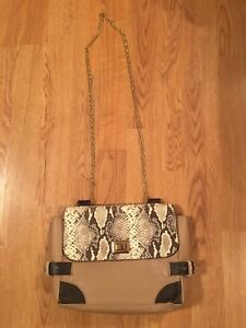 0300d715821 Massimo Dutti Bag Purse Shoulder Brown Snakeskin Chain Cream ...